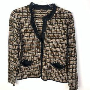 J. McLaughlin tweed sweater jacket M black gold